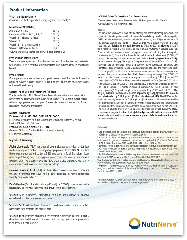 NutriNerve Physician Brochure1, product information for physicians
